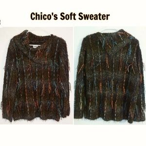 Chico's Sweater Mock Cowl Turtleneck Ribbon Mohair